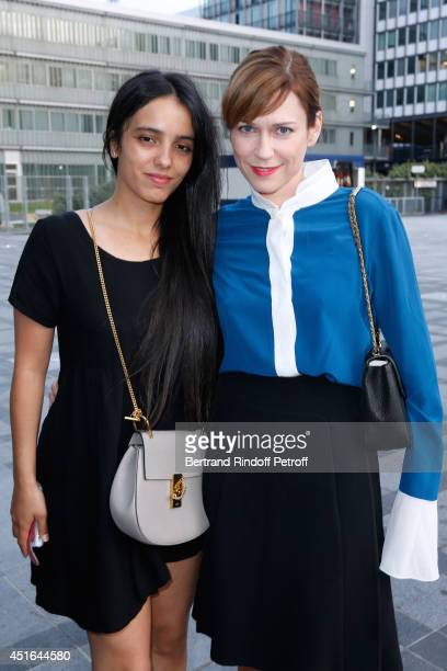 Actresses Hafsia Herzi and MarieJosee Croze attend the launching of Chloe new Perfume 'Love Story' Held at Institut du Monde Arabe on July 2 2014 in...