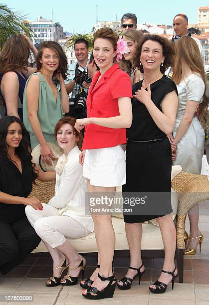 Actresses Hafsia Herzi Jasmine Trinca Alice Barnole Celine Sallette and Noemie Lvovsky attend the 'L'Appollonide House of Tolerance' Photocall during...