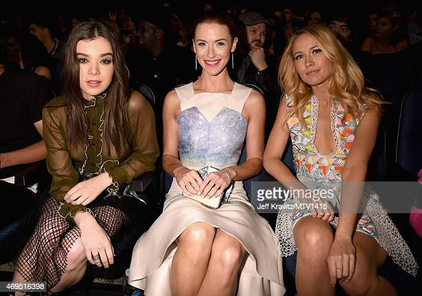 Actresses Hailee Steinfeld Bridget Regan and Anna Camp attend The 2015 MTV Movie Awards at Nokia Theatre LA Live on April 12 2015 in Los Angeles...