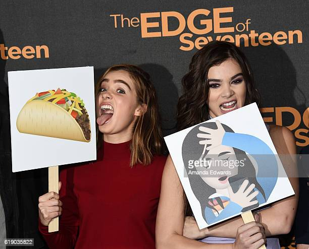 Actresses Haley Lu Richardson and Hailee Steinfeld attend the photo call for STX Entertainment's 'The Edge Of Seventeen' at The Four Seasons Hotel on...