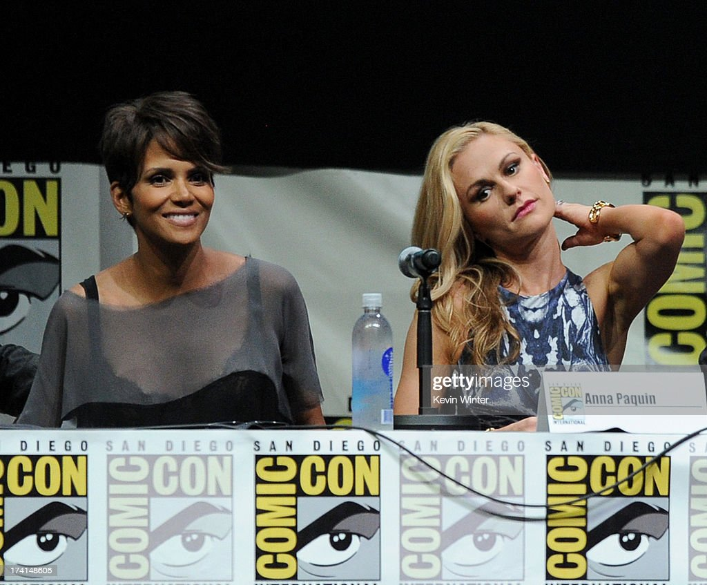 Actresses Halle Berry (L) and Anna Paquin speak at the 20th Century Fox panel during Comic-Con International 2013 at San Diego Convention Center on July 20, 2013 in San Diego, California.