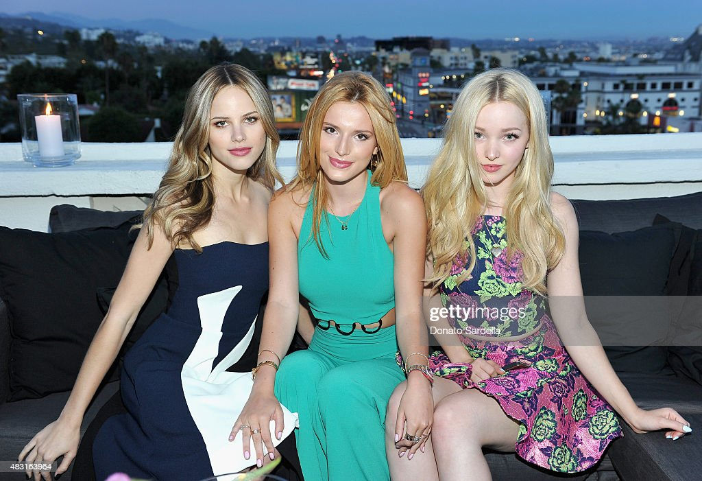 Actresses Halston Sage, Bella Thorne and Dove Cameron attend Teen Vogue x Simon BTSS Kick-off Dinner on August 5, 2015 in Los Angeles, California.