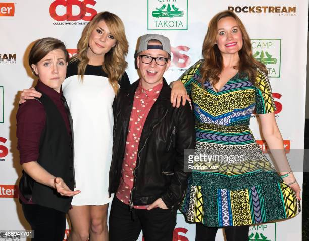 Actresses Hannah Hart annd Grace Helbig YouTube personality Tyler Oakley and actress Mamrie Hart attend 'Camp Takota' Exclusive Sneak Peek Party at...