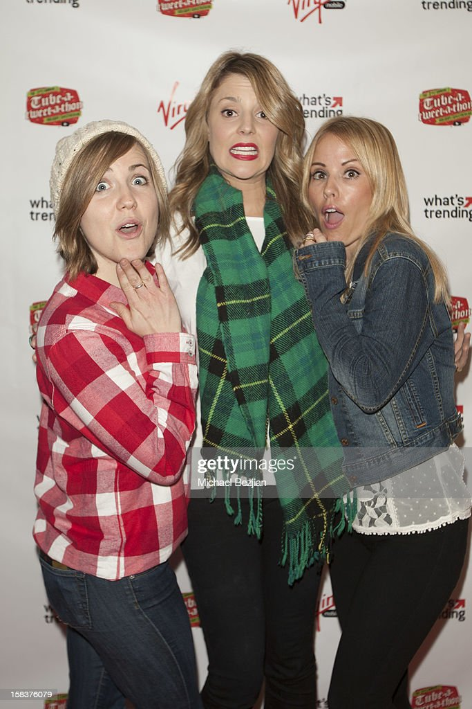 Actresses Hannah Hart, <a gi-track='captionPersonalityLinkClicked' href=/galleries/search?phrase=Emma+Caulfield&family=editorial&specificpeople=3028426 ng-click='$event.stopPropagation()'>Emma Caulfield</a> and Grace Helbig attend What's Trending Presents The 1st Annual Tube-A-Tweet-A-Thon Benefiting Covenant House on December 13, 2012 in Hollywood, California.