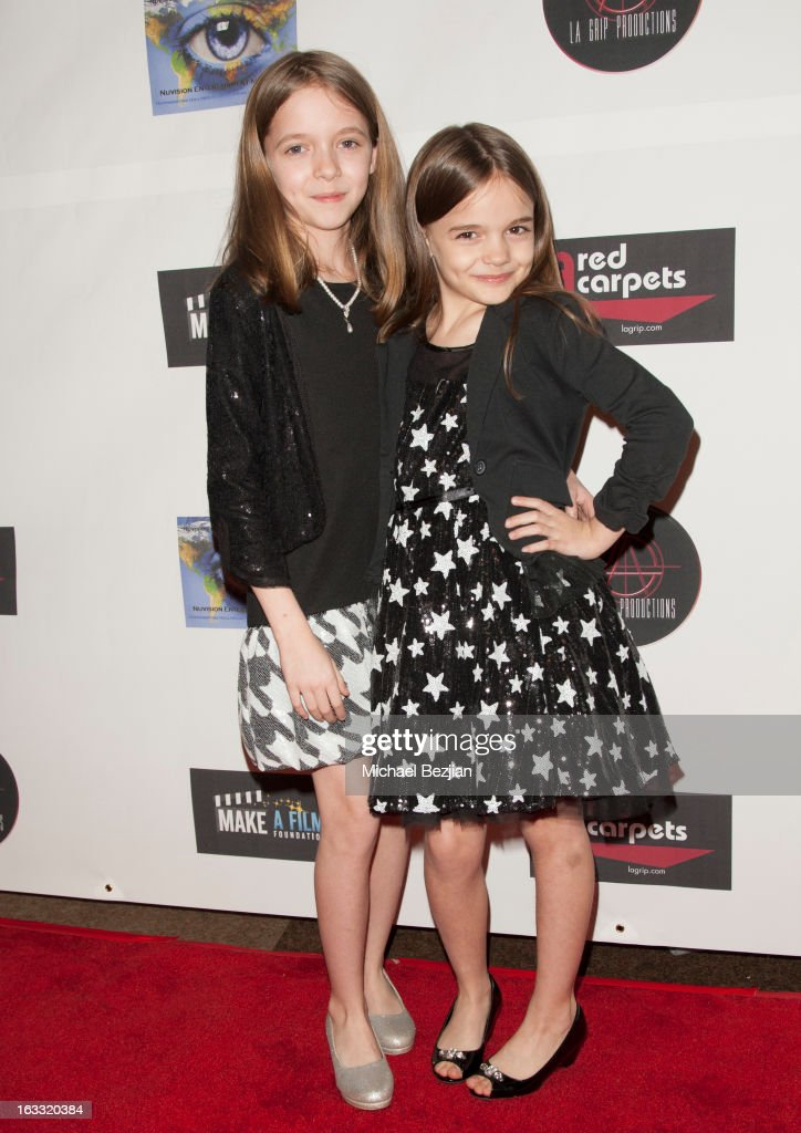 Actresses Hannah Sohn and Mykayla Sohn attend Make A Film Foundation's 'Kidz 4 Kidz' Comedy 4 A Cau$e Benefit Show at Writers Guild Theater on March 7, 2013 in Beverly Hills, California.