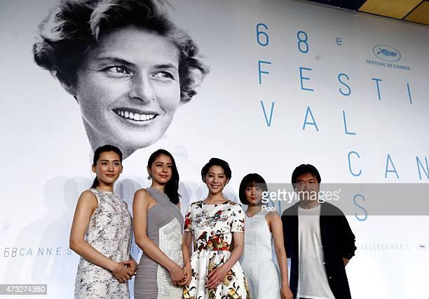 Actresses Haruka Ayase Masami Nagasawa Kaho Suzu Hirose and director Hirokazu Koreeda attend the press conference for 'Umimachi Diary' during the...