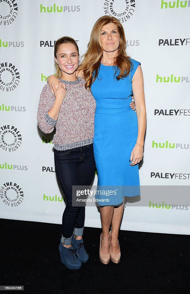 Actresses Hayden Panettiere (L) and Connie Britton arrive at the 30th Annual PaleyFest: The William S. Paley Television Festival featuring 'Nashville' at the Saban Theatre on March 9, 2013 in Beverly Hills, California.