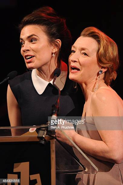 Actresses Hayley Atwell and Lesley Manville present the award for Best Actor as they attend the ceremony for the Moet British Independent Film Awards...
