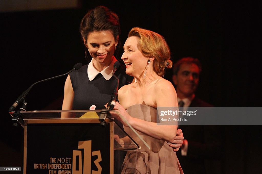 Actresses Hayley Atwell (L) and Lesley Manville present the award for Best Actor as they attend the ceremony for the Moet British Independent Film Awards at Old Billingsgate Market on December 8, 2013 in London, England.