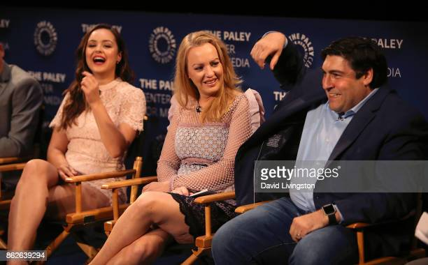 Actresses Hayley Orrantia and Wendi McLendonCovey and executive producer Adam F Goldberg attend 'The Goldbergs' 100th episode celebration at The...