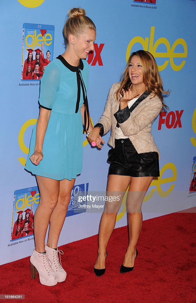 Actresses Heather Morris and Vanessa Lengies arrives at the 'GLEE' Premiere Screening And Reception at Paramount Studios on September 12, 2012 in Hollywood, California.