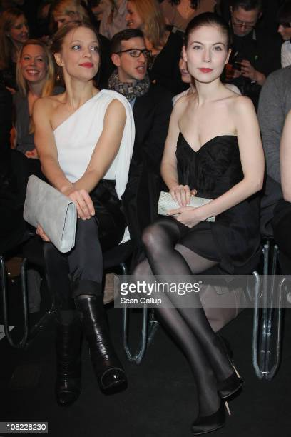 Actresses Heike Makatsch and Nora von Waldstaetten attend the Kaviar Gauche Show during the Mercedes Benz Fashion Week Autumn/Winter 2011 at...