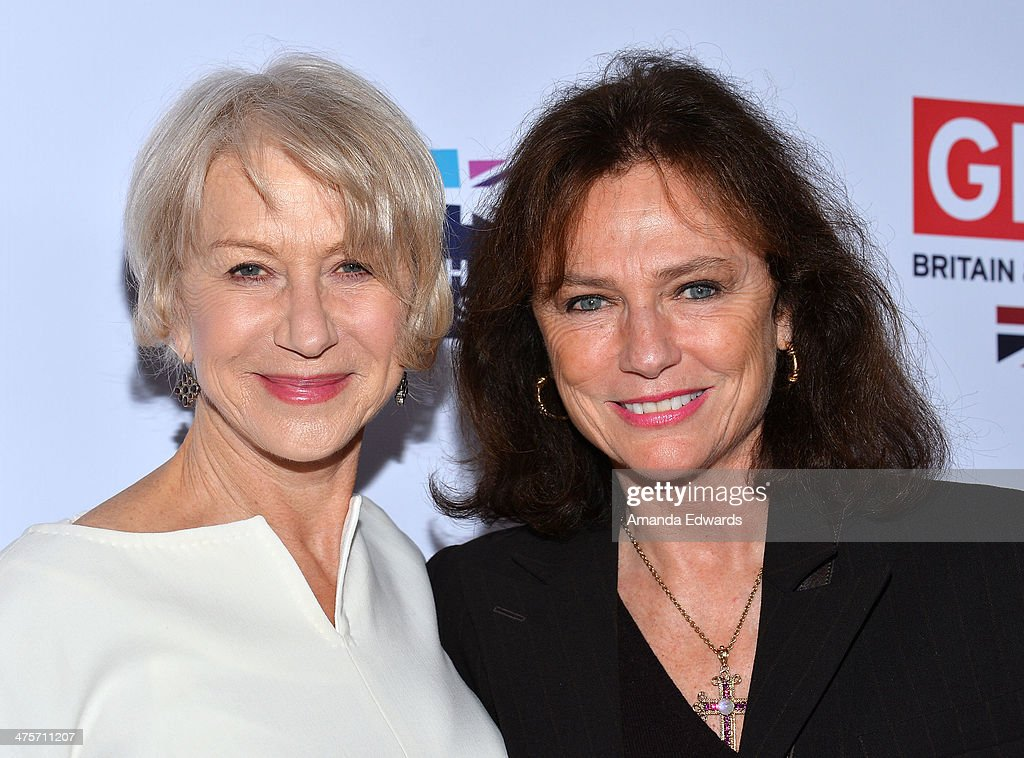 Actresses <a gi-track='captionPersonalityLinkClicked' href=/galleries/search?phrase=Helen+Mirren&family=editorial&specificpeople=201576 ng-click='$event.stopPropagation()'>Helen Mirren</a> (L) and <a gi-track='captionPersonalityLinkClicked' href=/galleries/search?phrase=Jacqueline+Bisset&family=editorial&specificpeople=204696 ng-click='$event.stopPropagation()'>Jacqueline Bisset</a> arrive at the GREAT British Film Reception honoring the British Nominees of The 86th Annual Academy Awards at British Consul General's Residence on February 28, 2014 in Los Angeles, California.