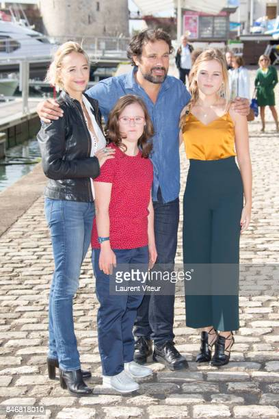 Actresses Helene de Fougerolles Marie Dal Zotto Actor Bruno Salomone and Actress Maira Schmitt attend 'Mention Particuliere' Photocall during 19th...