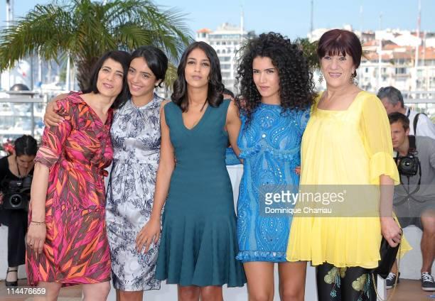 Actresses Hiam Abbas Hafsia Herzi Leila Bekhti Sabrina Ouazani and Biyouna attend 'La Source Des Femmes' Photocall during the 64th Annual Cannes Film...