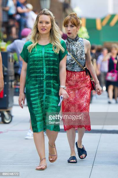 Actresses Hilary Duff and Molly Bernard are seen filming 'Younger' in Union Square on June 12 2017 in New York City