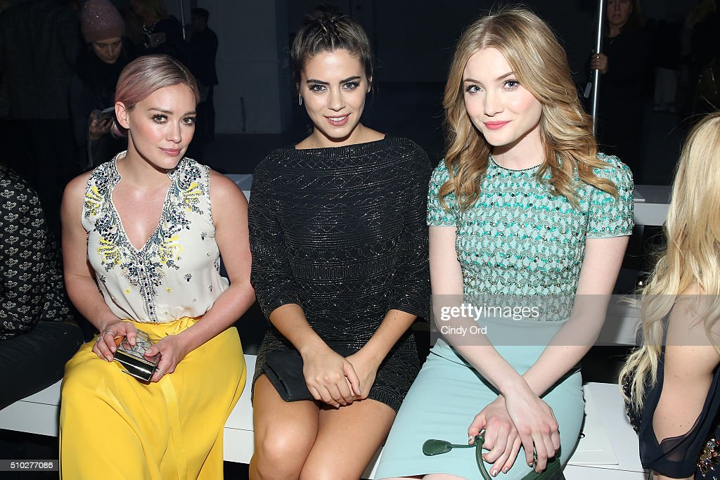 Actresses Hilary Duff, Lorenza Izzo and Skyler Samuels attend the Jenny Packham Fall 2016 fashion show during New York Fashion Week: The Shows at The Gallery, Skylight at Clarkson Sq on February 14, 2016 in New York City.