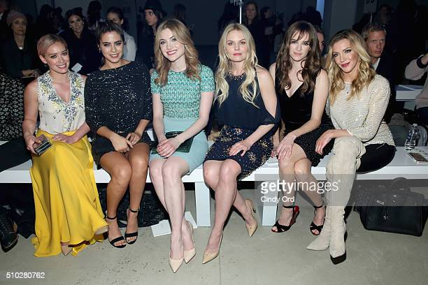 Actresses Hilary Duff Lorenza Izzo Skyler Samuels Jennifer Morrison Danielle Panabaker and actress Katie Cassidy attend the Jenny Packham Fall 2016...