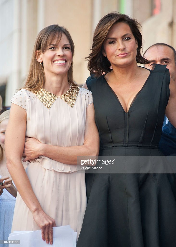 Actresses Hilary Swank (L) and Mariska Hargitay attend the ceremony honoring Mariska Hargitay with a Star on The Hollywood Walk of Fame on November 8, 2013 in Hollywood, California.