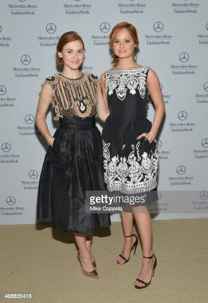 Actresses Holland Roden and Debby Ryan attend the MercedesBenz Star Lounge during MercedesBenz Fashion Week Fall 2014 at Lincoln Center on February...