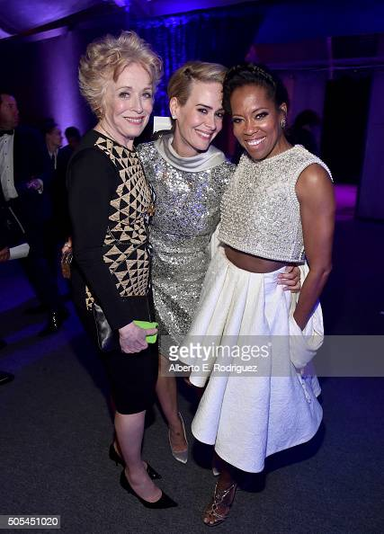 Actresses Holland Taylor Sarah Paulson and Regina King attend the after party for the 21st Annual Critics' Choice Awards at Barker Hangar on January...