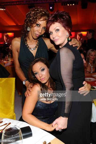 Actresses Holly Robinson Peete Leah Remeni and Sharon Osbourne attend the 19th Annual Elton John AIDS Foundation Academy Awards Viewing Party at the...