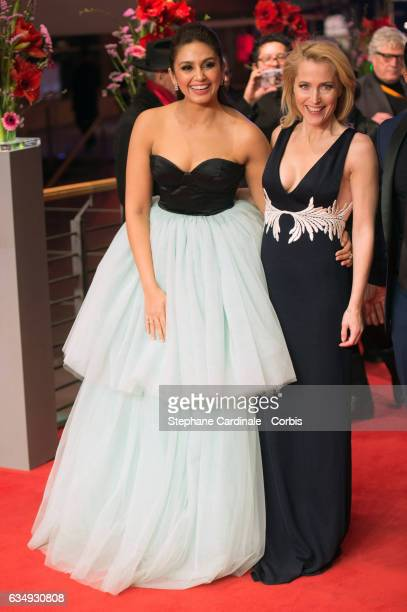 Actresses Huma Qureshi and Gillian Anderson attend the 'Viceroy's House' premiere during the 67th Berlinale International Film Festival Berlin at...