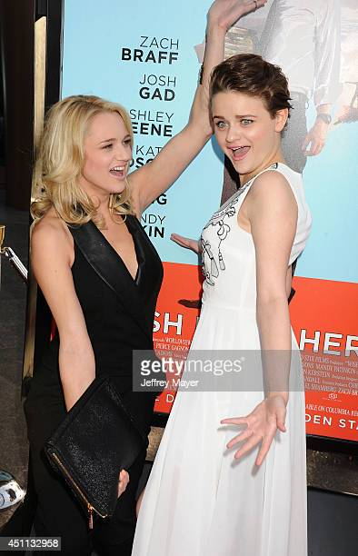 Actresses Hunter King and Joey King attend the 'Wish I Was Here' Los Angeles premiere on June 23 2014 at the DGA Theater in Los Angeles California