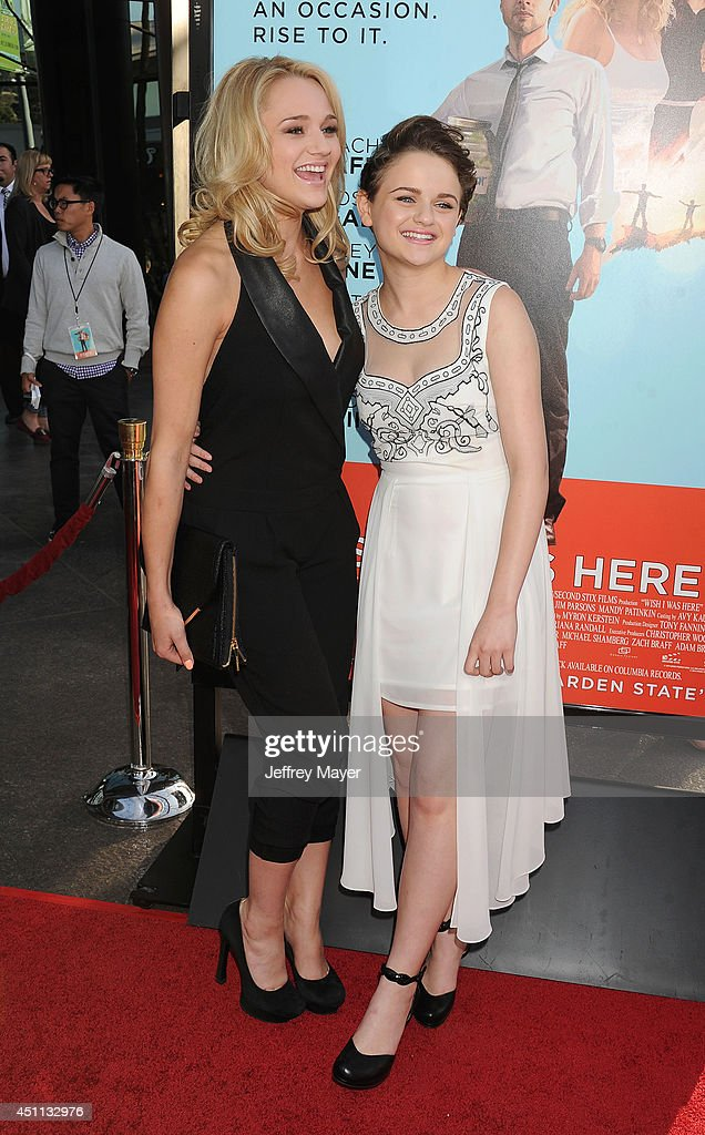 Actresses <a gi-track='captionPersonalityLinkClicked' href=/galleries/search?phrase=Hunter+King&family=editorial&specificpeople=9938218 ng-click='$event.stopPropagation()'>Hunter King</a> (L) and <a gi-track='captionPersonalityLinkClicked' href=/galleries/search?phrase=Joey+King+-+Actress&family=editorial&specificpeople=2264584 ng-click='$event.stopPropagation()'>Joey King</a> attend the 'Wish I Was Here' Los Angeles premiere on June 23, 2014 at the DGA Theater in Los Angeles, California.