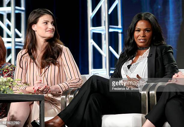 Actresses Idina Menzel and Nia Long of the series 'Beaches' speak onstage during the Lifetime portion of the 2017 Winter Television Critics...