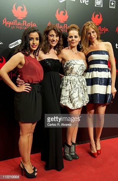 Actresses Inma Cuesta Pepa Aniorte Miryam Gallego and Martina Klein attend 'Aguila Roja' premiere at Kinepolis Cinema on April 14 2011 in Madrid Spain