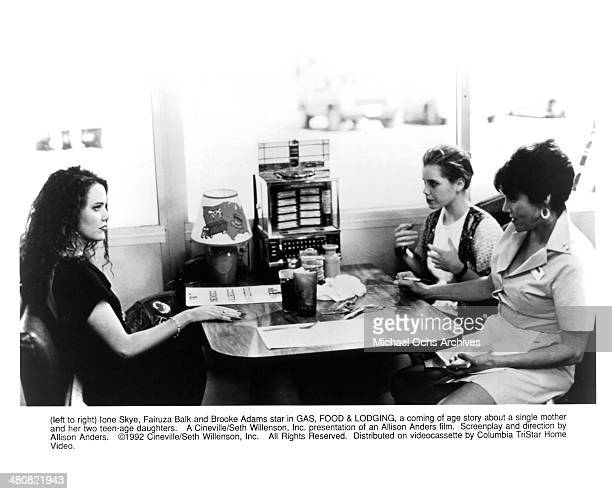 Actresses Ione Skye Fairuza Balk and Brooke Adams in a scene from the movie 'Gas Food Lodging' circa 1992