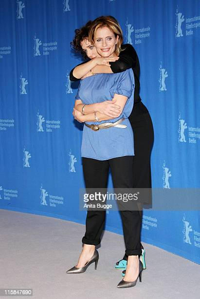 Actresses Isabella Ferrari and Valeria Golino attend the 'Quiet Chaos' Photocall on day seven of the 58th Berlinale Film Festival at the Grand Hyatt...