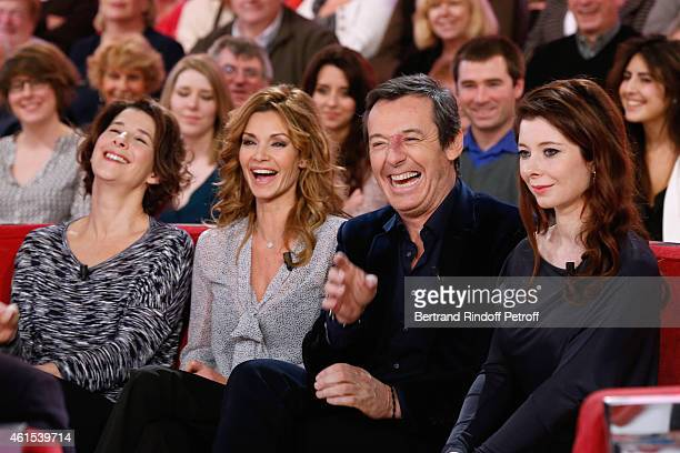Actresses Isabelle Gelinas Ingrid Chauvin presenter JeanLuc Reichmann and writer Helene Gremillon attend the 'Vivement Dimanche' French TV Show at...