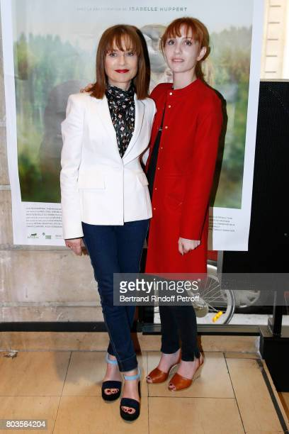 Actresses Isabelle Huppert and her daughter Lolita Chammah attend the 'Barrage' Paris Premiere at UGC Odeon on June 29 2017 in Paris France