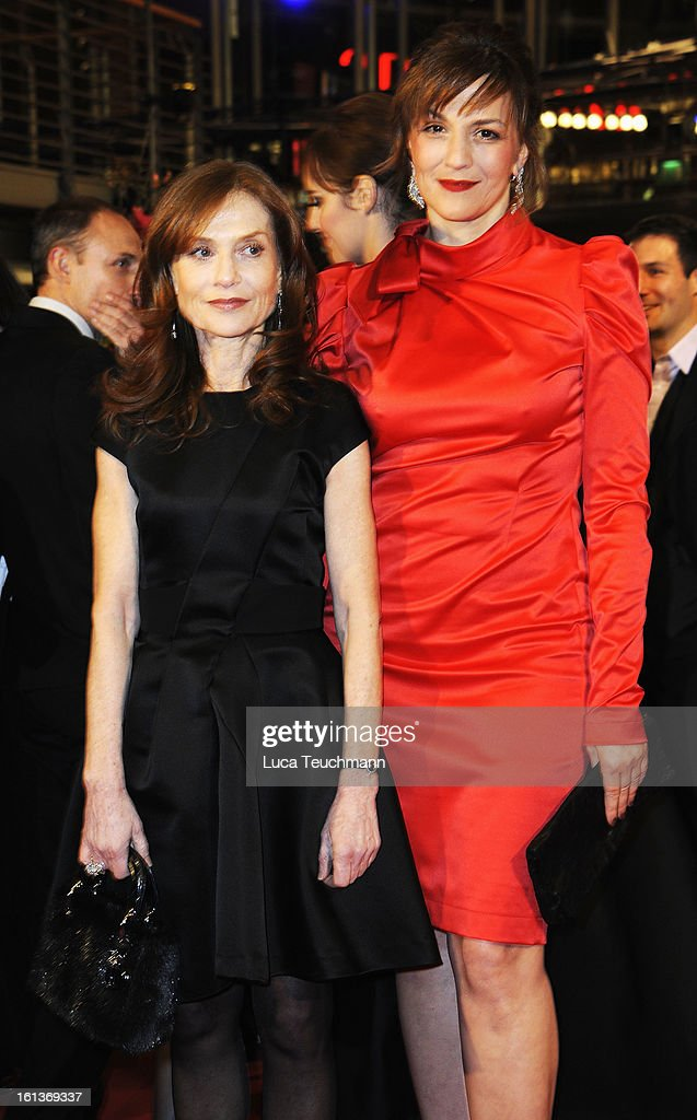 Actresses <a gi-track='captionPersonalityLinkClicked' href=/galleries/search?phrase=Isabelle+Huppert&family=editorial&specificpeople=662796 ng-click='$event.stopPropagation()'>Isabelle Huppert</a> and <a gi-track='captionPersonalityLinkClicked' href=/galleries/search?phrase=Martina+Gedeck&family=editorial&specificpeople=621042 ng-click='$event.stopPropagation()'>Martina Gedeck</a> attend 'The Nun' Premiere during the 63rd Berlinale International Film Festival at Berlinale Palast on February 10, 2013 in Berlin, Germany.