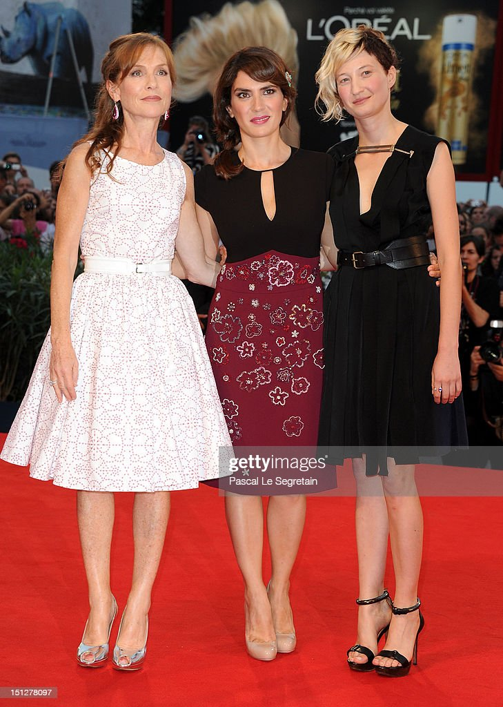 Actresses Isabelle Huppert, Maya Sansa and Alba Rohrwacher attend the 'Bella Addormentata' Premiere during The 69th Venice Film Festival at the Palazzo del Cinema on September 5, 2012 in Venice, Italy.