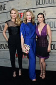 Actresses Jacinda Barrett Katie Finneran and Linda Cardellini attend the Premiere of Netflix's 'Bloodline' at Westwood Village Theatre on May 24 2016...