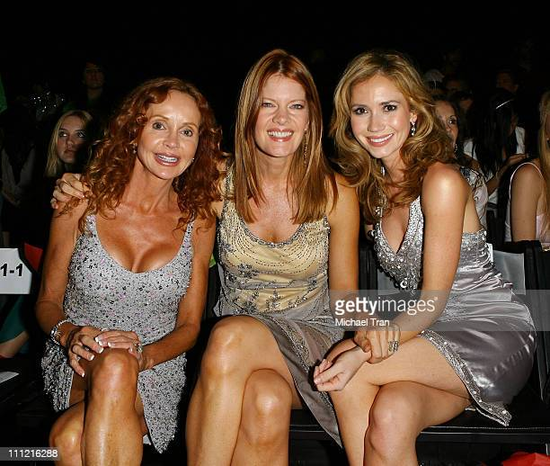 Actresses Jacklyn Zeman Michelle Stafford and Ashley Jones frontrow and backstage at Sue Wong Spring 2007 collection during Mercedes Benz Fashion...