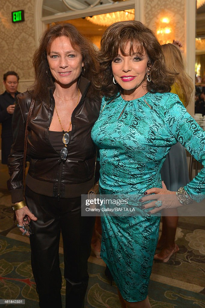 Actresses Jacqueline Bisset and Joan Collins attend the BAFTA LA 2014 Awards Season Tea Party at the Four Seasons Hotel Los Angeles at Beverly Hills on January 11, 2014 in Beverly Hills, California.