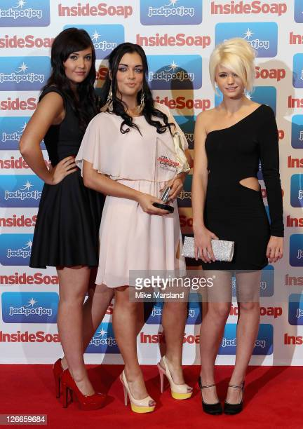 Actresses Jacqueline Jossa Shona McGarty and Danielle Harold from EastEnders with the Best Saop award at the Inside Soap Awards 2011 at Gilgamesh on...