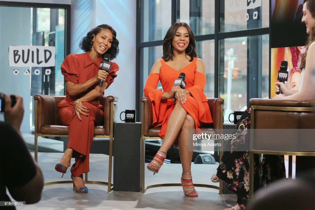 Actresses Jada Pinkett Smith and Regina Hall visit Build to discuss the film 'Girls Trip' at Build Studio on July 17, 2017 in New York City.
