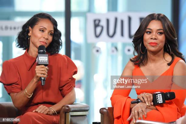 Actresses Jada Pinkett Smith and Regina Hall visit the Build Series to discuss the movie 'Girls Trip' at Build Studio on July 17 2017 in New York City