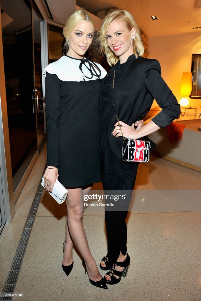 Actresses <a gi-track='captionPersonalityLinkClicked' href=/galleries/search?phrase=Jaime+King+-+Actress&family=editorial&specificpeople=206809 ng-click='$event.stopPropagation()'>Jaime King</a> (L) and <a gi-track='captionPersonalityLinkClicked' href=/galleries/search?phrase=January+Jones&family=editorial&specificpeople=212949 ng-click='$event.stopPropagation()'>January Jones</a> attend Launch Of CHOO.08 hosted by Jimmy Choo's Sandra Choi on April 15, 2014 in Beverly Hills, California.