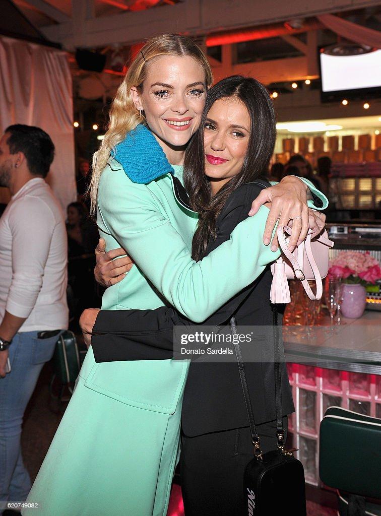 Actresses Jaime King (L) and Nina Dobrev attend Poppy Jamie, Suki Waterhouse, Leo Seigal and Cade Hudson celebration of the launch of POP & SUKI on November 2, 2016 in Los Angeles, California.