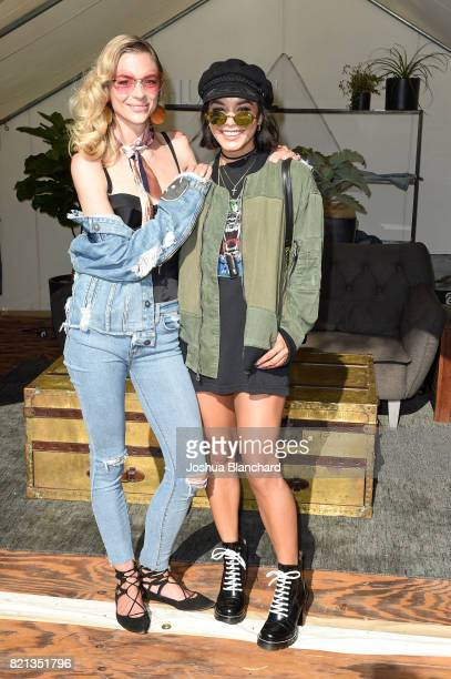 Actresses Jaime King and Vanessa Hudgens attend the Hudson Jeans FYF Fest Style Lounge at Exposition Park on July 23 2017 in Los Angeles California