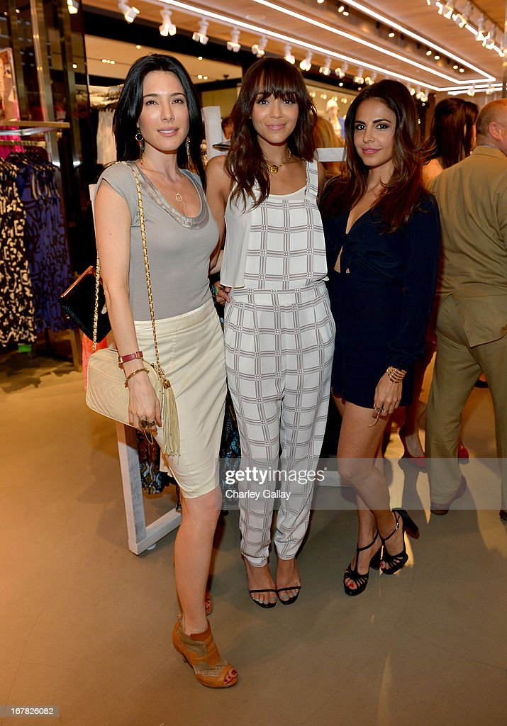 Actresses <a gi-track='captionPersonalityLinkClicked' href=/galleries/search?phrase=Jaime+Murray+-+Actress&family=editorial&specificpeople=217455 ng-click='$event.stopPropagation()'>Jaime Murray</a>, <a gi-track='captionPersonalityLinkClicked' href=/galleries/search?phrase=Ashley+Madekwe&family=editorial&specificpeople=5526423 ng-click='$event.stopPropagation()'>Ashley Madekwe</a>, and <a gi-track='captionPersonalityLinkClicked' href=/galleries/search?phrase=Azita+Ghanizada&family=editorial&specificpeople=4647934 ng-click='$event.stopPropagation()'>Azita Ghanizada</a> attend BAFTA Los Angeles and Sir Philip Green Celebrate the British New Wave at Topshop Topman at The Grove on April 30, 2013 in Los Angeles, California.