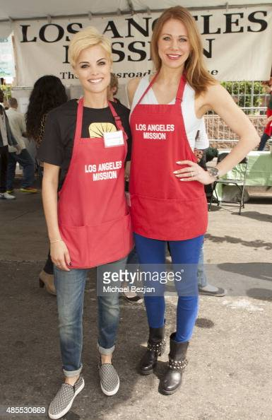 Actresses Jaimie Alexander and Maitland Ward volunteer at The Los Angeles Mission's Easter Celebration Of New Life For The Homeless at Los Angeles...