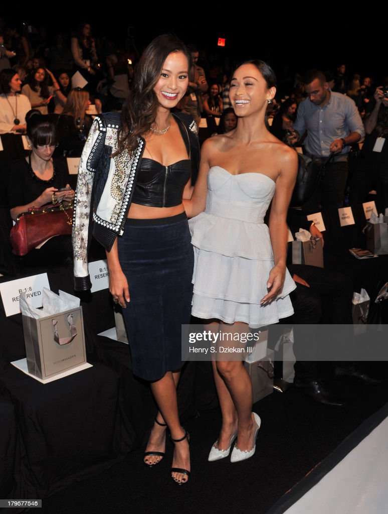 Actresses <a gi-track='captionPersonalityLinkClicked' href=/galleries/search?phrase=Jamie+Chung&family=editorial&specificpeople=4145549 ng-click='$event.stopPropagation()'>Jamie Chung</a> and <a gi-track='captionPersonalityLinkClicked' href=/galleries/search?phrase=Cara+Santana&family=editorial&specificpeople=4311902 ng-click='$event.stopPropagation()'>Cara Santana</a> attend the BCBGMAXAZRIA show during Spring 2014 Mercedes-Benz Fashion Week at The Theatre at Lincoln Center on September 5, 2013 in New York City.