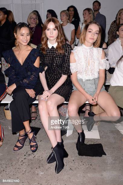 Actresses Jamie Chung Karen Gillan and Brigette LundyPaine attend the SelfPortrait Spring Summer 2018 Front Row during New York Fashion Week on...